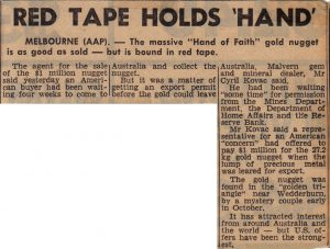 Newspaper article describing the red tape holding up the sale of the Hand of Faith gold nugget in 1981 to Golden Nugget Casino Las Vegas