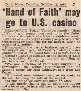 Hand of Faith the worlds largest Gold Nugget may be sold to Las Vegas Casino